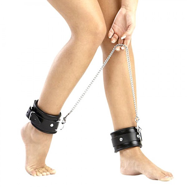 Leather And Chain Ankle Leg Restraint BDSM