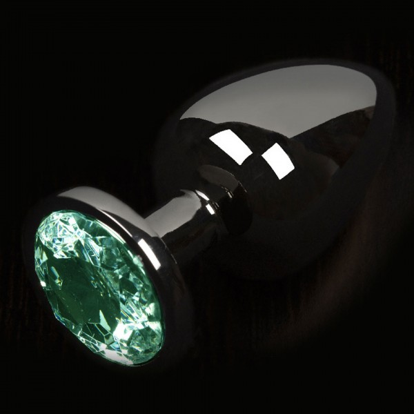 Dolce Piccante Graphite Style Small Anal Plug With Green Gem
