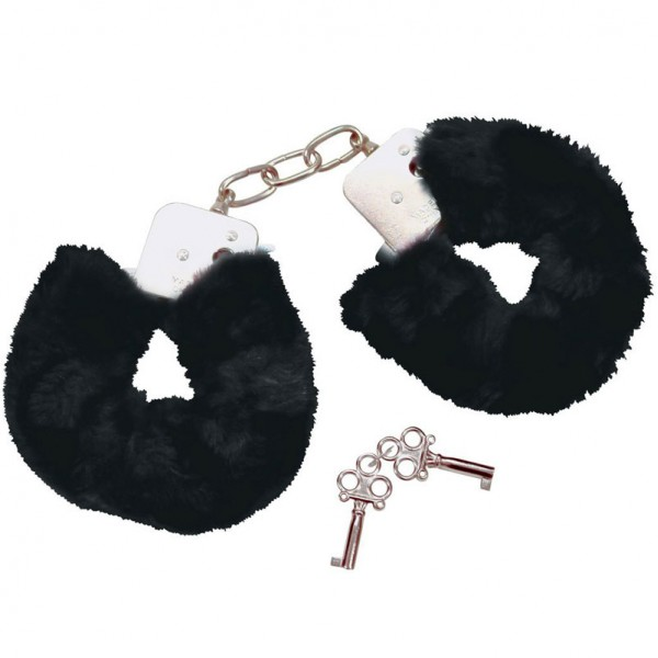 Bad Kitty Metal  Plush Handcuffs Black