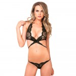 Leg Avenue Lace Wrap Around Top and String