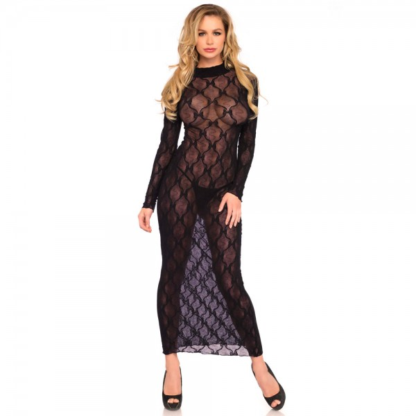 Leg Avenue Long Sleeved Long Dress UK 8 to 14