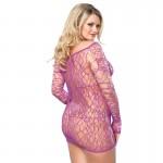 Leg Avenue Web Net Mini Dress Purple UK 16 to 18