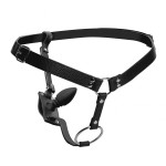 Strict Male Cock Ring Harness with Silicone Anal Plug