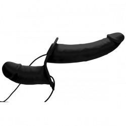 Power Pegger Vibrating Double Dildo With Harness Black