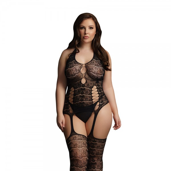 Le Desir Black Lace Suspender Bodystocking UK 14 to 20