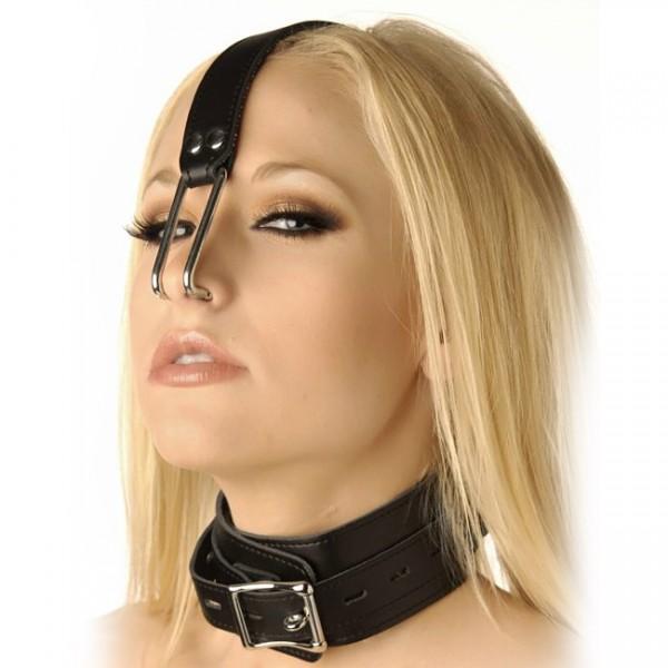 Bondage Collar With Nose Hooks