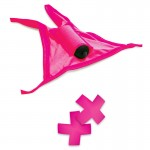 Neon Pink Vibrating Crotchless Panties And Pasties Set