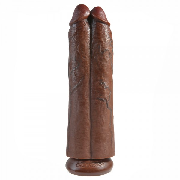 King Cock Two Cocks One Hole Brown 11Inch Dildo