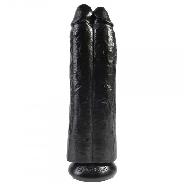 King Cock Two Cocks One Hole Hollow StrapOn 11 Inch Black