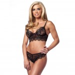 Lovely Black Lace Bralette And Briefs Set