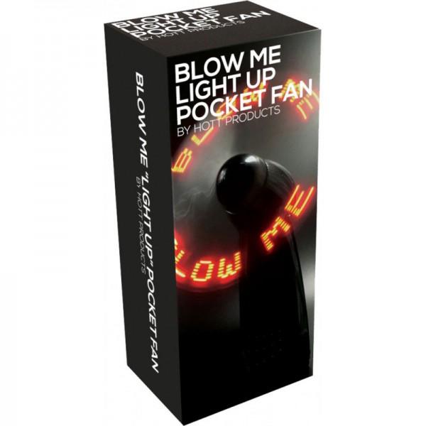 Blow Me Light Up Pocket Fan Black Novelty Gift