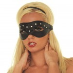 Open Eye Mask With Rivets Leather